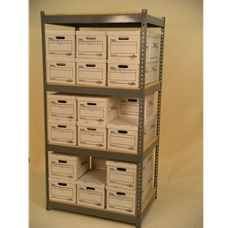 42 X 30 X 7' tall shelving unit 4 levels double stacked