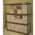 "69"" X 30"" X 7' tall shelving unit with 4 levels and double stacked"