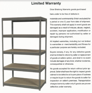 dixie shelving warranty